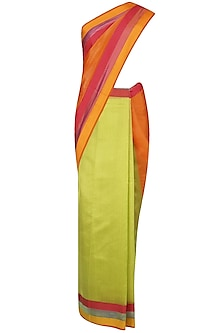 "Orange And Green Zari Embroidered ""Utsav"" Saree by Gayatri"