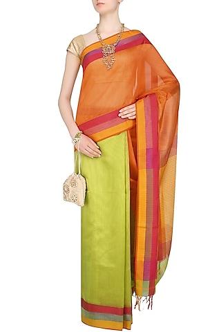 """Orange And Green Zari Embroidered """"Utsav"""" Saree by 2080"""