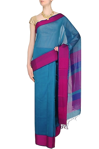 """Peacock Blue Resham Embroidered """"Morpankh"""" Saree by 1917"""