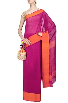 "Kokum Pink Dual Toned Resham Embroidered ""Shringar"" Saree by Gayatri"
