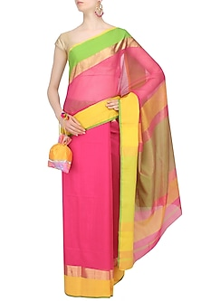 "Rose Pink Zari Embroidered ""Gulab"" Saree by Gayatri"