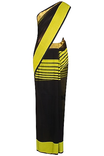 """Black And Chrome Yellow Zari Embroidered Striped """"Ghat"""" Saree by Gayatri"""