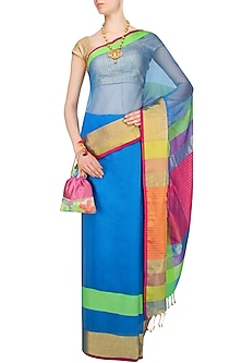 "Turquoise Blue Zari Embroidered ""Narmada"" Saree by Gayatri"