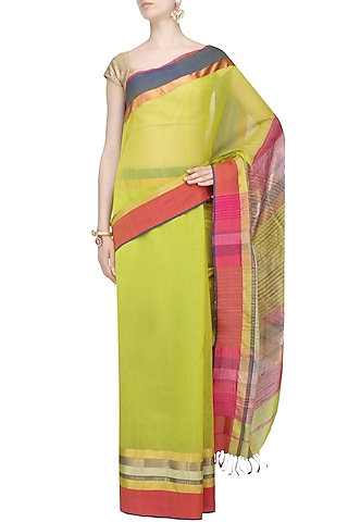 "Lime Green Zari Embroidered ""Rajwada"" Saree by 2091"