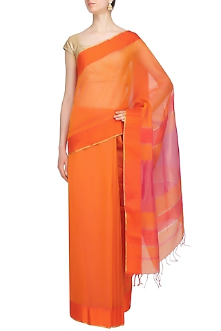 "Sunset Orange Zari Embroidered ""Gulmohar"" Saree by 1925"