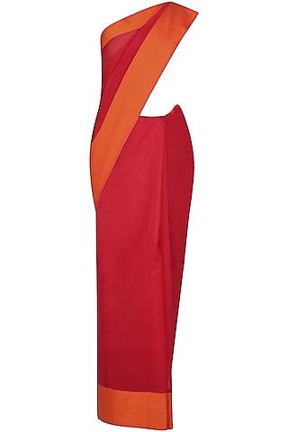 "Red And Sunset Orange Zari Embroidered ""Shringar"" Saree by 1925"