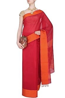 "Red And Sunset Orange Zari Embroidered ""Shringar"" Saree by Gayatri"