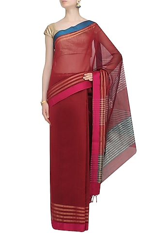 "Marsala Red Zari Embroidered ""Malwa"" Saree by 1925"