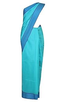Aqua Blue Resham Embroidered Chevron Pattern Saree by Gayatri