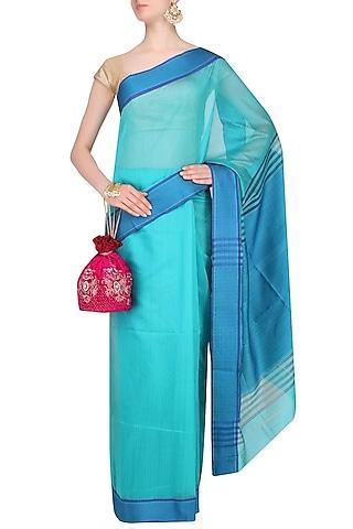 Aqua Blue Resham Embroidered Chevron Pattern Saree by 2584