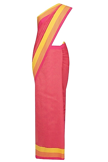 Fuschia Pink Resham Embroidered Chevron Pattern Saree by Gayatri