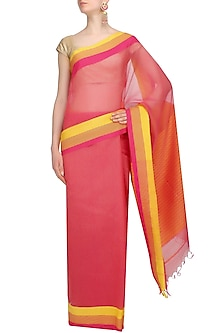 Fuschia Pink Resham Embroidered Chevron Pattern Saree by Gayatri