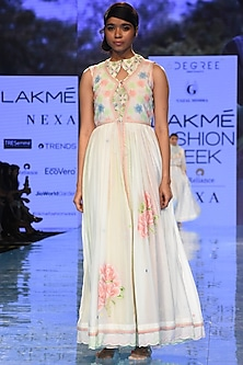 White Embroidered Cape Dress With Inner by Gazal Mishra