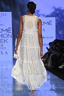 White Embroidered Tiered Dress by Gazal Mishra