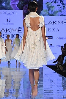White Embroidered Dress With Frills by Gazal Mishra