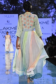 Multi Colored Embroidered Reversible Dress by Gazal Mishra