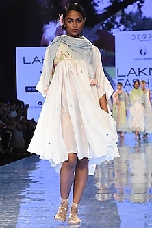 White Gathered & Embroidered Short Dress by Gazal Mishra
