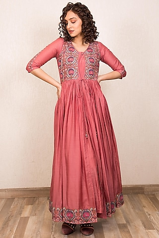 Dusty Pink Embroidered Dress With Inner by Gazal Mishra