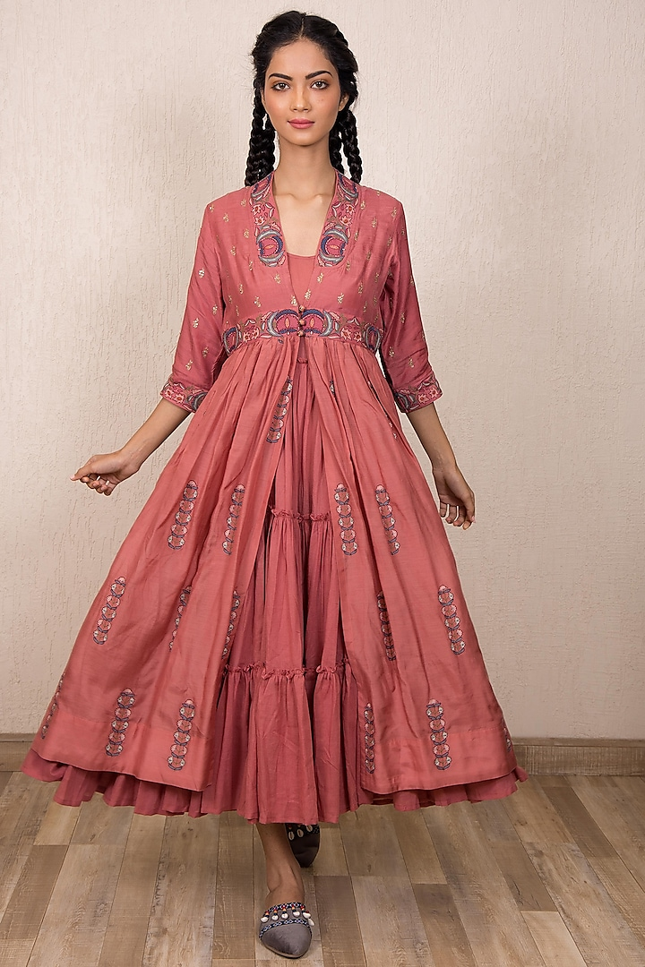 Dusty Pink Embroidered Jacket Dress With Inner by Gazal Mishra
