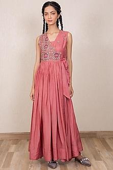 Dusty Pink Embroidered Angrakha Dress With Inner by Gazal Mishra-GAZAL MISHRA