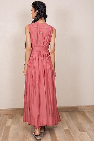 Dusty Pink Embroidered Angrakha Dress With Inner by Gazal Mishra