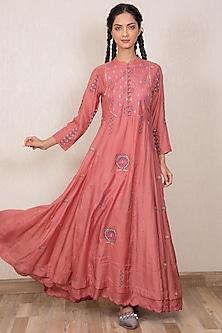 Dusty Pink Embroidered Kalidar Kurta by Gazal Mishra-GAZAL MISHRA