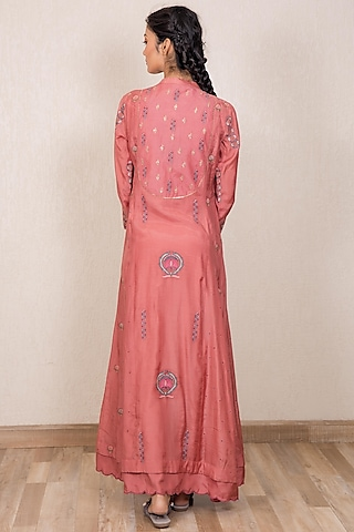 Dusty Pink Embroidered Kalidar Kurta by Gazal Mishra