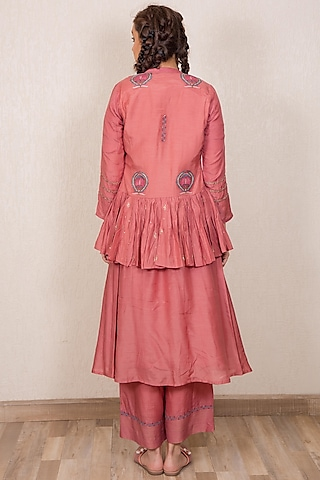 Dusty Pink Embroidered Kedia Top by Gazal Mishra