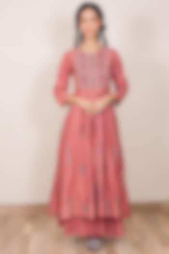 Dusty Pink Embroidered Gathered Dress by Gazal Mishra