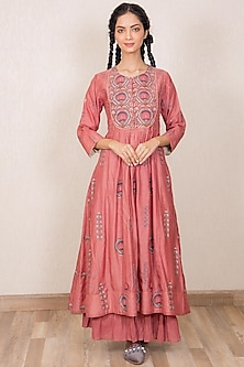 Dusty Pink Embroidered Gathered Dress by Gazal Mishra-GAZAL MISHRA