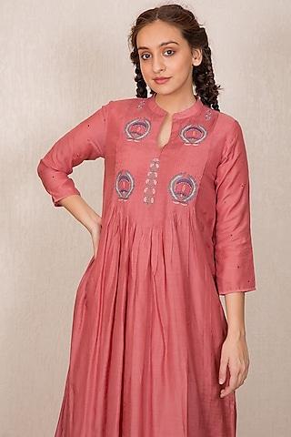 Dusty Pink Embroidered Pintucked Kurta Set by Gazal Mishra