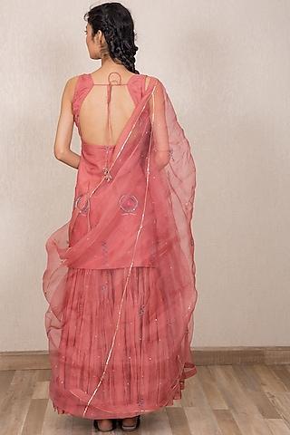 Dusty Pink Embroidered Gharara Set by Gazal Mishra