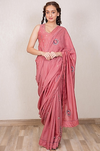 Dusty Pink Embroidered Saree Set by Gazal Mishra