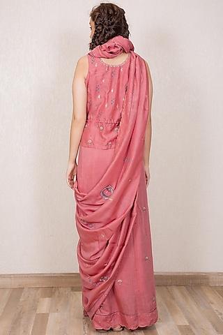 Dusty Pink Embroidered Saree Set by Gazal Mishra