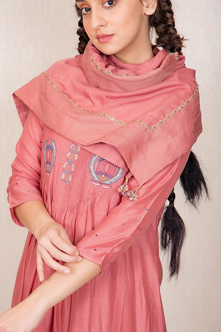 Dusty Pink Embroidered Scarf by Gazal Mishra