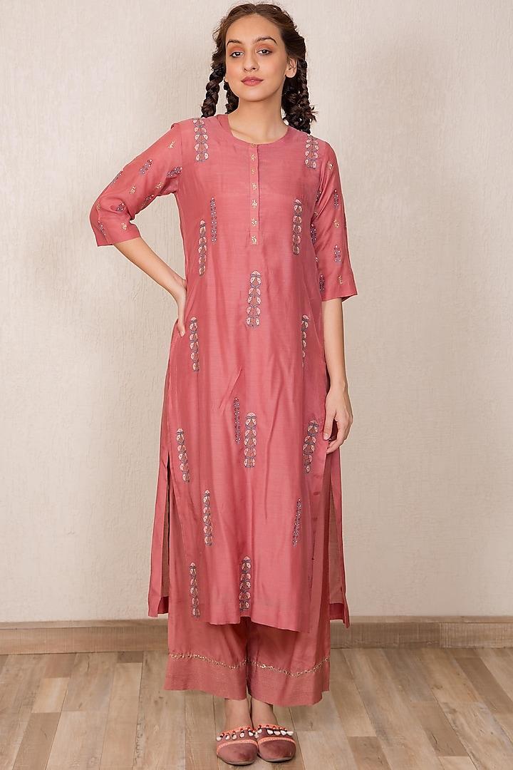 Dusty Pink Zardosi Embroidered Kurta Set by Gazal Mishra