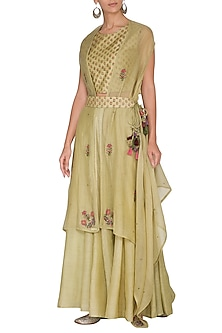 Wild Lime Green Embroidered Printed Blouse With Shrug, Palazzo Pants & Belt by Gazal Mishra