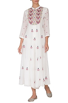 White Embroidered Jumpsuit by Gazal Mishra