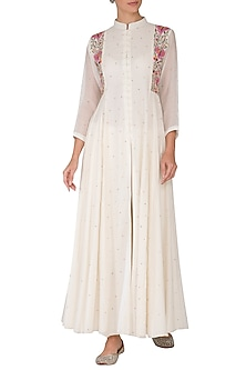 Off White Embroidered Kali Kurta With Pants by Gazal Mishra