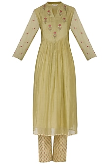 Wild Lime Green Embroidered & Printed Pintuck Kurta With Pants by Gazal Mishra