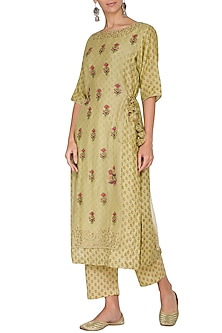 Wild Lime Green Embroidered & Printed Layered Kurta With Pants by Gazal Mishra