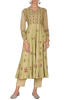 Wild Lime Green Embroidered & Printed Side Dori Kurta With Pants by Gazal Mishra