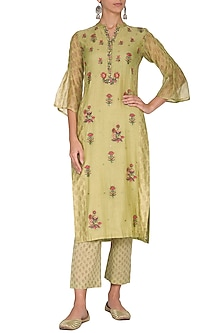 Wild Lime Green Embroidered & Printed Straight Kurta With Pants by Gazal Mishra