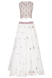 White Embroidered Lehenga Set by Gazal Mishra