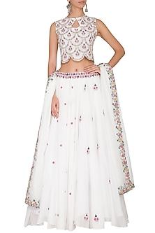 White Embroidered Lehenga Set by Gazal Mishra