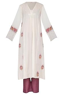 Off White & Wine Embroidered Gaba Kurta Set by Gazal Mishra
