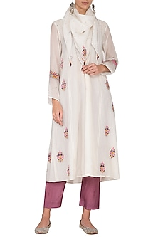 Off White & Wine Embroidered Gaba Kurta Set by Gazal Mishra