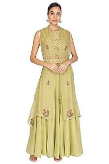 Wild Lime Green Embroidered Palazzo Pants With Blouse, Shrug & Dupatta by Gazal Mishra