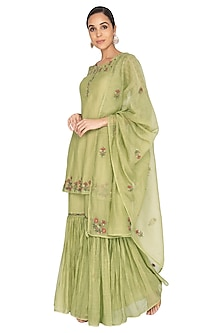 Wilde Lime Green Embroidered Gharara Set by Gazal Mishra