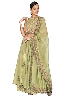 Wild Lime Green Embroidered Lehenga Set by Gazal Mishra